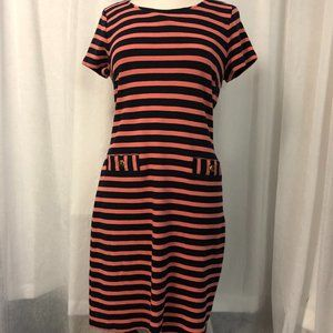 Talbots Women's Dress Pink and Navy Blue Striped